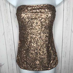 f8c6b54ff8 Express Tops - Express Sz Small Pink Rose Gold Sequins Tube Top